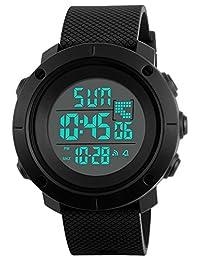 数字运动手表电子防水 LED *黑色男式青少年手表(黑色)
