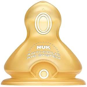德国NUK宽口 乳胶 中圆孔1号 奶嘴2个装(适用0-6个月)