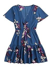 Floerns 女式花卉印花 V 领短袖荷叶边下摆裹身连衣裙