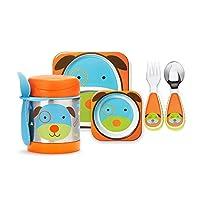 (跨境自营)(包税) Skip Hop Zoo可爱动物园组合(含碗碟,保温食物壶,餐具叉及匙) - 小狗 SH252201 SH252350 SH252378