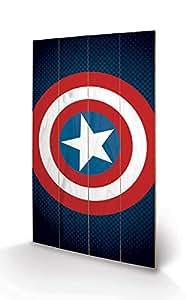 金字塔国际复仇者联盟美国队长盾牌印花,木质,多色,45 x 76 x 1.3 厘米