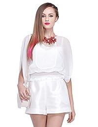 Five Plus 女式 纯色拼接刺绣宽松衬衫雪纺衫 22152012170