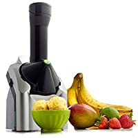 Yonanas 902 Classic Original Healthy Dessert Fruit Soft Serve Maker Creates Fast Easy Delicious Dairy Free Vegan Alternatives to Ice Cream Frozen Yogurt Sorbet Includes Recipe Book BPA Free, Silver 需配变压器