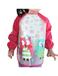 Holly Store 儿童防水长袖罩衫围嘴,用于吃和涂色 红色猫头鹰 均码