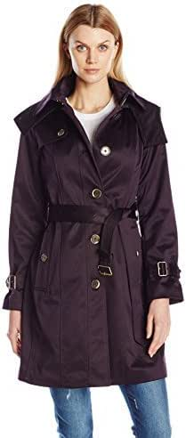 London Fog 女式传统束带单排扣风衣,配有肩盖 暗紫色(Blackberry) Small