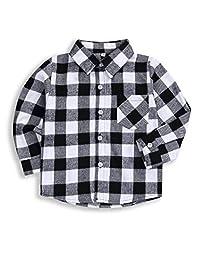 幼儿男婴女孩衣服绅士服装红色格子法兰绒正装衬衫带系扣儿童服装 1-6T Grey-y 2-3T