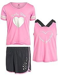 Body Glove 女孩运动短裤套装搭配背心和 T 恤(3 件套)