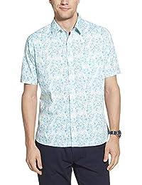 Geoffrey Beene 男式修身短袖系扣印花衬衫