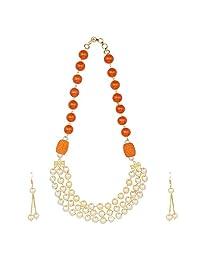 Efulgenz 印度宝莱坞多层人造珍珠珠新娘串项链耳环婚礼珠宝套装(颜色可选) 橙色
