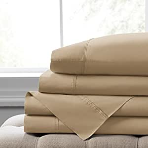 Elizabeth Arden 柔软透气 400 支棉 4 件床单套装 - 天然纯长绒棉 - 柔软丝滑 - 深套口适合*厚 45.72 cm 的床垫 - - -