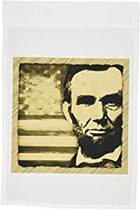 perkins Designs 美国–Abraham LINCOLN–亚伯拉罕·林肯总统与美国国旗 sepia 色调颜色–旗帜 12 x 18 inch Garden Flag