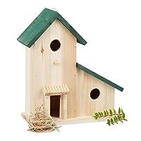 Relaxdays 木制鸟舍表,嵌套盒,装饰性培育辅助阳台花园,高 x 宽 x 深:30.5 x 26 x 12 厘米,绿色