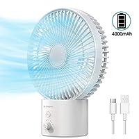 Dr. 备有 4000 mAh 摆动台式风扇,8 英寸 USB 台式风扇,8 档速度,可充电电池供电,带拨号开关,个人冷却,适用于台式办公室床头卧室,白色