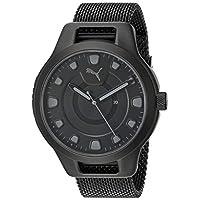 PUMA 彪马 男式重置石英手表不锈钢镀表带,黑色,20(型号:P5007)