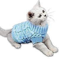 Tieesa 绞花针织高领毛衣,宠物毛衣,套头小猫毛衣,针织外套,适合小狗和猫咪的针织衫 XXL