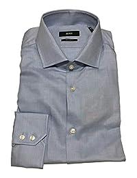 HUGO BOSS 常规款纯色蓝色正装衬衫 41/16