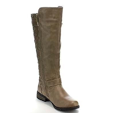 Forever Mango-21 Women's Winkle Back Shaft Side Zip Knee High Flat Riding Boots 灰褐色