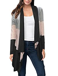 PERSUN Womens Red Color Block Striped Open Front Thin Shirt Drape Cardigan