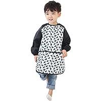 Plie Kids Art Smocks,儿童防水艺术家绘画围裙长袖带口袋适合 1-8 岁儿童 由 Plie 出品 Black Puppy XLarge
