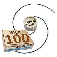 Atomant LED 支架包 x 100 个单位,适用于 GU10 长电缆,20 厘米,白色