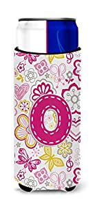 Caroline's Treasures CJ2005-PCC Letter P Flowers and Butterflies Pink Can or Bottle Hugger, Multicolor