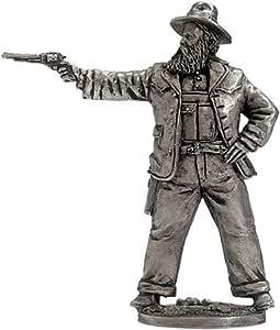 Wild West 锡制战士金属雕塑微型可收藏小雕像 54 毫米(比例 1/32) 未喷漆 WW-27