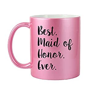 Mama Birdie Best Maid of Honor Ever 咖啡杯 Thank You or Bridal Party for Maid of Honor Ever 字样咖啡杯(多色) Glitter Pink (Script) MAMA578-MUG-GlitterPink-Script