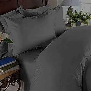 Elegant Comfort ® 抗皱 - 1500 纱支奢华丝滑柔软床单 4 件套,深口袋高达 16 英寸(约 40.6 厘米)和颜色 - 单人床(Twin)、普通双人床(Full)、双人床(Queen)、双人床(King)、加州双人床(King) 灰色 King