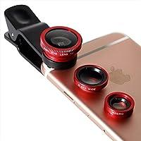Owltech Iphone 支持各种智能手机背夹式摄像机镜头套磨毛四件套 ( 宏观 · 鱼眼广角)带收纳袋  红色