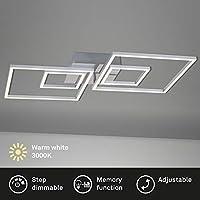 Briloner Leuchten – LED 吸顶灯,可调光,包括*功能,2 个 LED 模块可旋转,43.8 瓦,3,600 流明,3,000 开尔文,铬铝,656x520x96 毫米(长 x 宽 x 高)