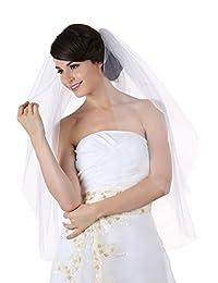2T 2 层切边新娘婚礼头纱肩长 63.5 厘米
