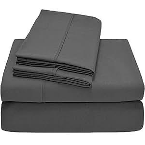 American Linen 埃及长绒棉床上用品 纯色图案 600 支 4 件套床单套装 * 埃及长绒棉,缎纹纯色,袋深(加大双人床-特大号 灰色 Split-Cal King-15 Inches