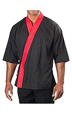 ¾ Sleeve Sushi Coat Black With Red Accent Small