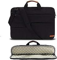 KINGSLONG 笔记本电脑包 17 17.3 英寸笔记本电脑单肩邮差包套,轻质超薄电脑笔记本超极本便携包,男式女式公文包,适用于宏碁华硕戴尔联想 HP 黑色