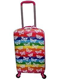 女孩硬壳拉杆箱,旅行随身携带,粉色蝴蝶设计,18 英寸