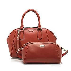 ELLE 女式 时尚十字纹牛皮套装斜挎单肩包 CJ141M30535RD 红色 30*12.5*24cm
