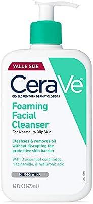 CeraVe 泡沫洁面乳 16盎司(473ml) 油性皮肤日常面部清洁 无香