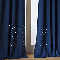 "Taisier Home [ 带您之星] 儿童卧室和托儿所主题遮光窗帘。柔软类似亚麻织物,隔热灯光阻挡窗帘(63 84L,2片装 *蓝 52""×84""Bottom Stars M YMTS007-BSBM"
