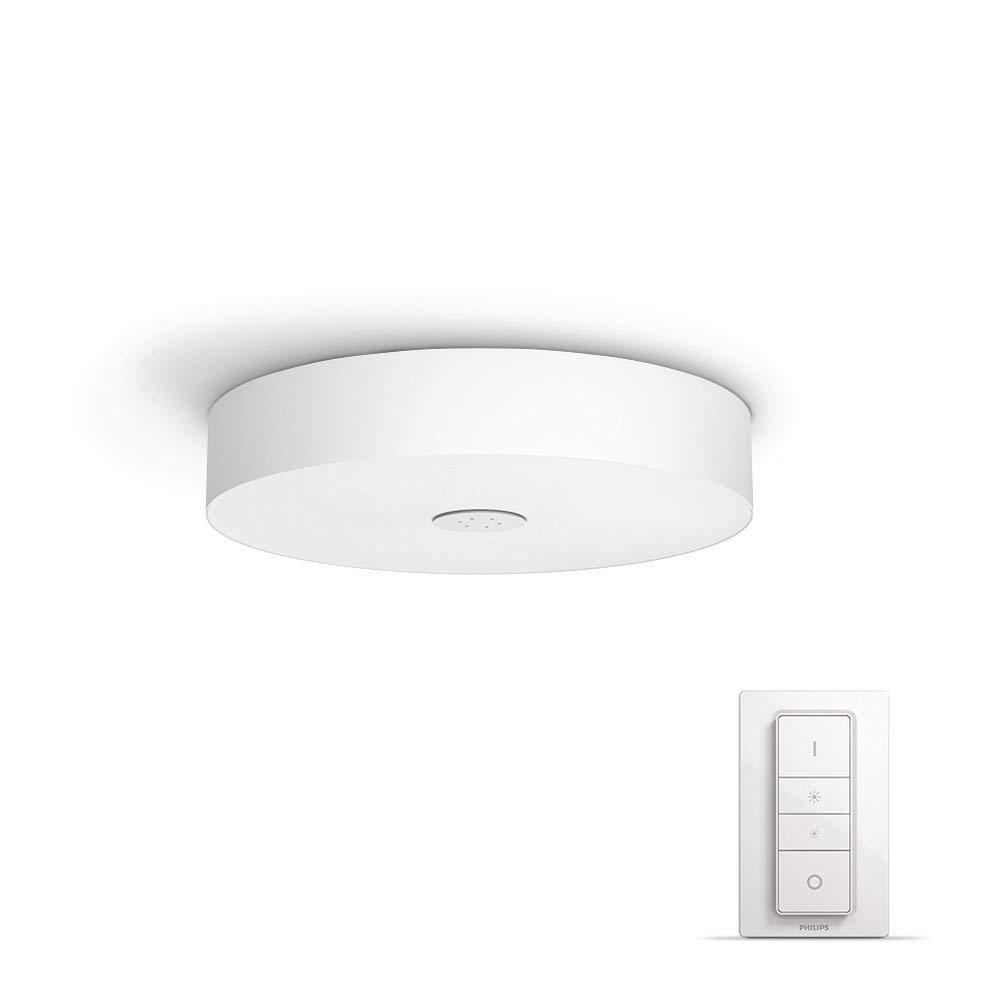 飞利浦 Hue LED 顶灯,其罩壳是全白色,调光开关是可以通过 App 控制的,也兼容亚马逊 Alexa (且配搭节能插头)