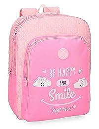 Roll Road Happy Pink 双隔层可调节学生背包 45 厘米