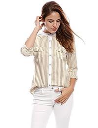 allegra K 女式翻边七分袖立领纽扣条纹衬衫