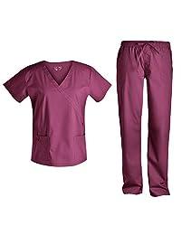 女式 scrubs 套装*刷手衣–pandamed stretch scrubs 假披肩 scrubs 上衣 scrubs 裤多口袋 tcs3101 葡萄*色 Small