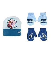 女孩帽子和手套套装,冰雪奇缘双面帽子和 2 双手套,2-7