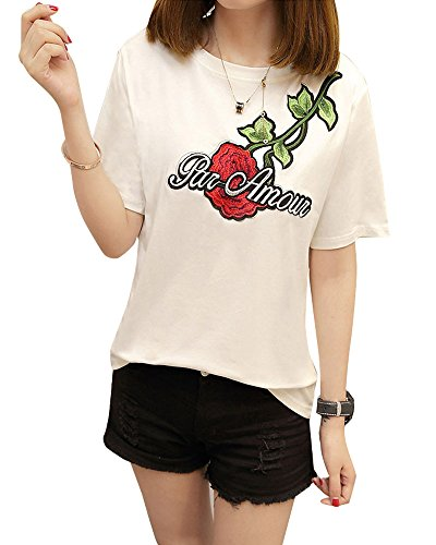 Rungoo 蓝格风尚 夏季宽松百搭棉质短袖t恤女休闲半袖体恤上衣刺绣玫瑰打底衫
