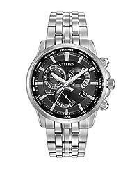 CITIZEN 手表 calibre 8700男式太阳能手表黑色表盘 模拟显示和银色不锈钢表链 bl8140–55E