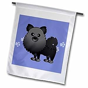 janna salak 设计狗–可爱黑色 pomeranian 配蓝色爪印–旗帜 12 x 18 inch Garden Flag