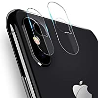 透明相機鏡頭保護膜適用于 iPhone X/Xs/Xs Max,超薄高清 9H 硬度,防刮、無氣泡鋼化玻璃屏幕保護膜,黑色后置攝像頭屏幕蓋。