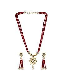 Efulgenz 印度宝莱坞 Kundan 吊坠珍珠新娘项链耳环女士婚礼珠宝套装