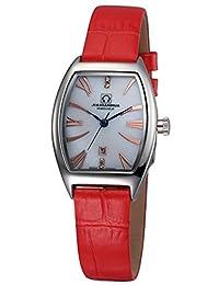 嘉年华手表 酒桶型罗马镶水钻女士时尚石英表 日历防水大三针红皮带女表 玖金刻白色面腕表