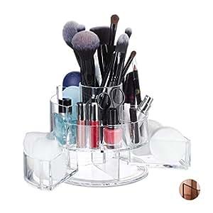 Relaxdays 亚克力化妆品收纳盒,圆形,9 个隔层,化妆存储,口红,*油 透明的 14.00 x 15.00 x 15.00cm 10026567_50